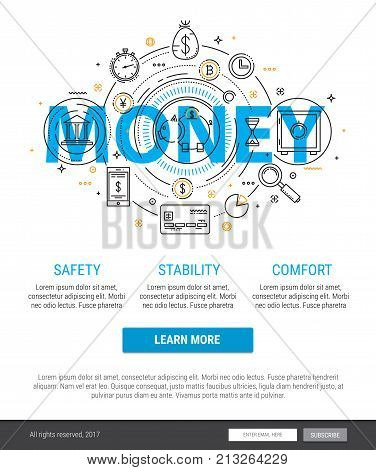 Thin line banner design of banking, finance, strategy, investment, etc. Modern concept Flat Style