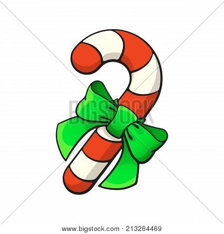 Vector illustration. Christmas candy cane with ribbon bow-knot. Santa's stripes cane. Cartoon with contour. Isolated on white background