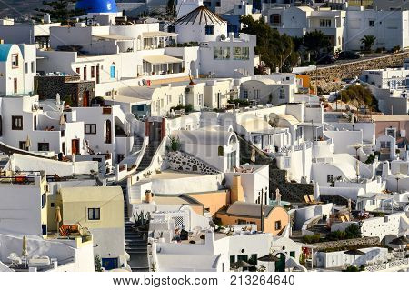 A Close Up Of The Mazy Streets Of Thira, The Main Town Of The Island Of Santorini