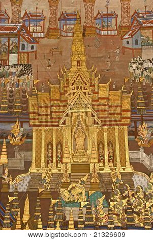 Thai Mural Painting on the wa