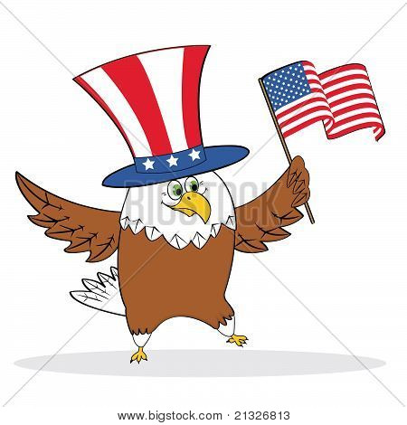 Cartoon patriotic eagle holding american flag
