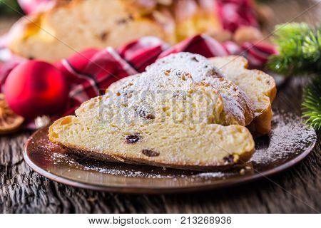 Christmas Cake And Christmas Decorations. Christmas Cake, Slovak Or Eastern Europe Traditional Pastr