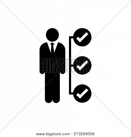 Businessman tasks items list icon Checking mark checklist marker isolated-Vector Iconic Design.
