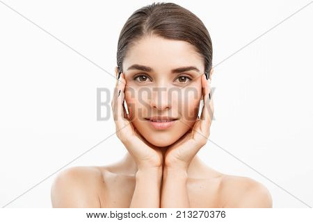 Beauty Skin Care Concept - Beautiful Caucasian Woman Face Portrait. Beautiful Beauty Young Female Mo