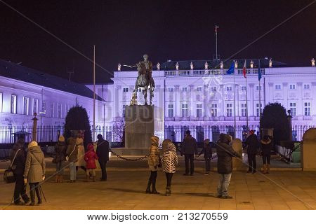 WARSAW, POLAND - JANUARY 02, 2016: View of the Presidential Palace in Christmas decorations. Is the elegant classicist latest version of a building that has stood on the Krakow Suburb site since 1643.