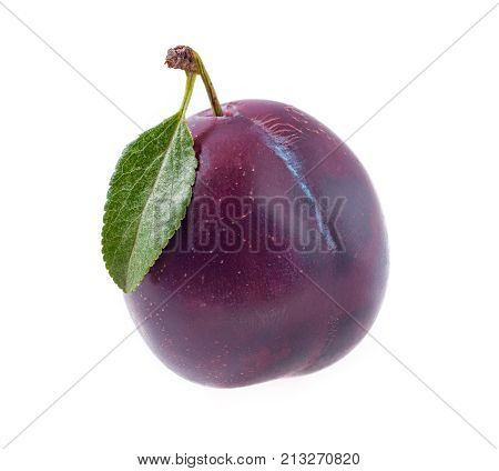 plum with leaf isolated on a white background.