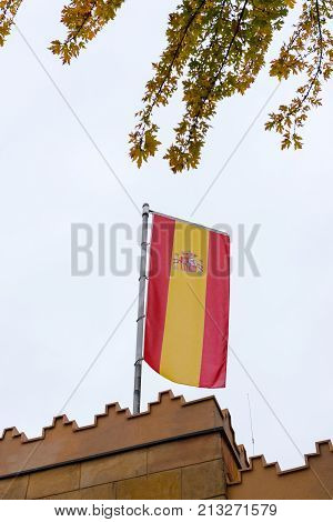 flaming spanish flag in a buiding, Europe
