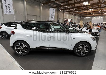 CRACOW POLAND - MAY 20 2017: Renault Scenic displayed at MOTO SHOW in Cracow Poland. Exhibitors present most interesting aspects of the automotive industry