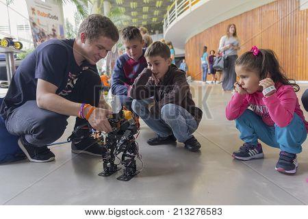 Kiev Ukraine - September 30 2017: Children get acquainted with robotics at the festival of STEM-education