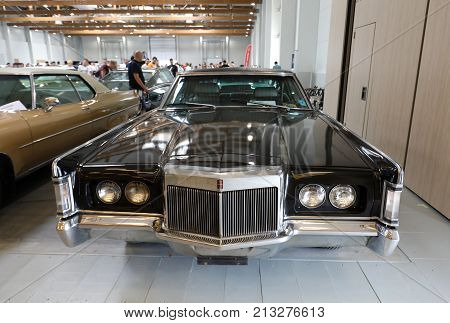 CRACOW POLAND - MAY 20 2017: Lincoln Continental Mark III displayed at MOTO SHOW in Cracow Poland. Exhibitors present most interesting aspects of the automotive industry