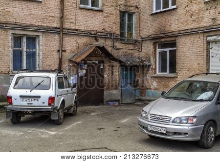 Kazakhstan, Ust-Kamenogorsk, november 2, 2017: Entrance of the old apartment building, on the street Kazakhstan 116