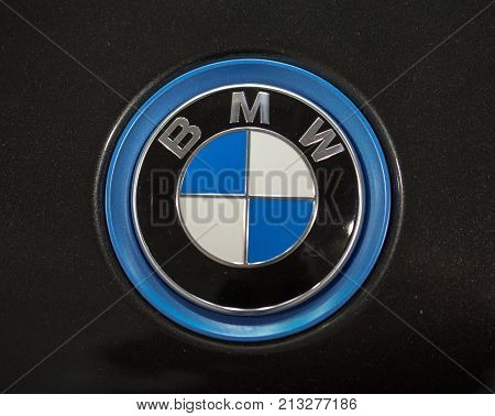 CRACOW POLAND - MAY 20 2017: BMW metallic logo closeup on BMW car displayed at MOTO SHOW in Cracow Poland. Exhibitors present most interesting aspects of the automotive industry