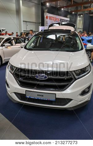 CRACOW POLAND - MAY 20 2017: Ford Edgre displayed at MOTO SHOW in Cracow Poland. Exhibitors present most interesting aspects of the automotive industry