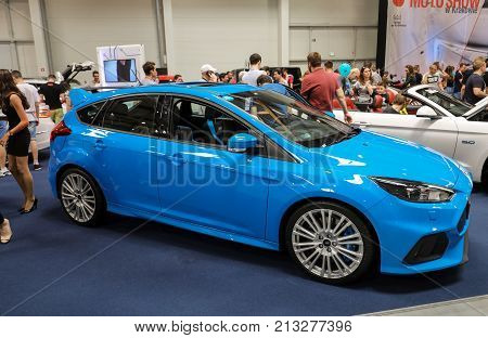 CRACOW POLAND - MAY 20 2017: Ford Focus displayed at MOTO SHOW in Cracow Poland. Exhibitors present most interesting aspects of the automotive industry