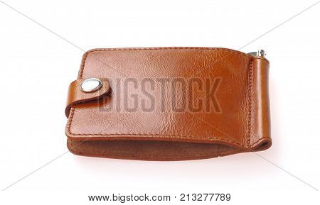 Brown natural leather wallet isolated on white background. Expensive man's purse closeup