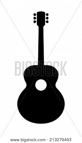 Acoustic Guitar Silhouette. Vector Illustration Of Hand Drawn No Brand Imaginery Acoustic Guitar Silhouette. No Release needed no copyright infringrment.