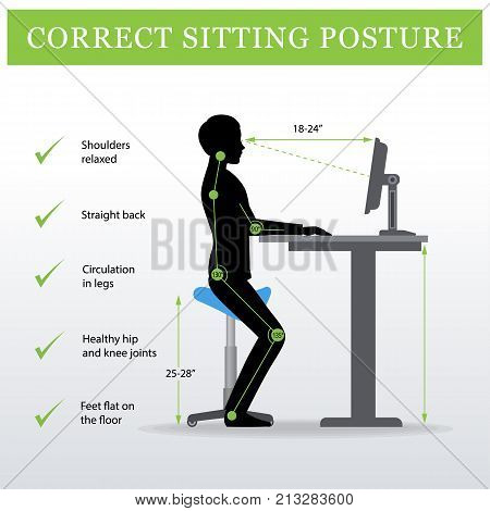 ergonomic. Saddle sitting chair and Height adjustable desk or table sitting and standing pose of a man. Healthy sitting pose