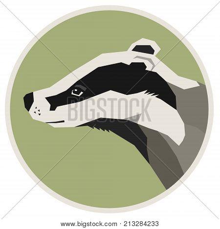 Wild animals collection Badger Geometric style icon round set