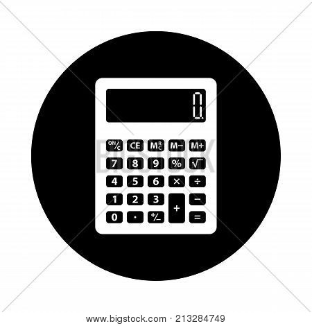 Calculator circle icon. Black round minimalist icon isolated on white background. Calculator simple silhouette. Web site page and mobile app design vector element.
