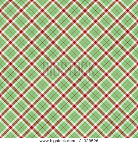 Red, Green and White Plaid Pattern