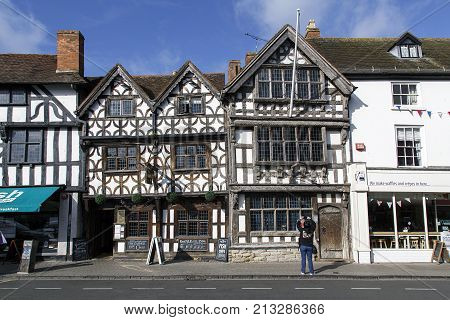 Stratford upon Avon, UK: October 14, 2017: The Garrick Inn was built in circa 14th century and is a half timbered Tudor house now a restaurant serving real ales. It is reputedly the oldest pub in the town and a unique piece of English architecture