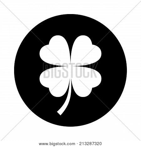 Four leaf clover circle icon. Black round minimalist icon isolated on white background. Clover simple silhouette. Web site page and mobile app design vector element.