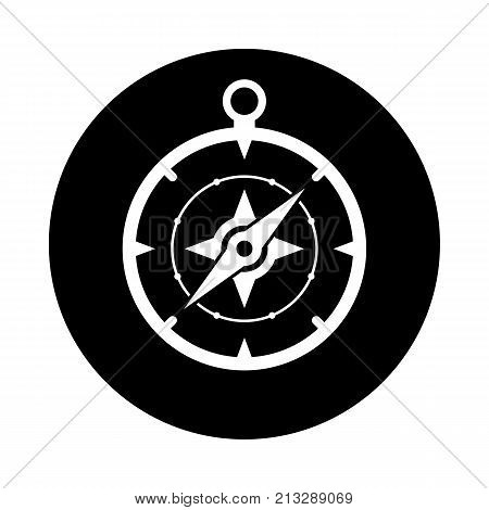Compass circle icon. Black round minimalist icon isolated on white background. Compass simple silhouette. Web site page and mobile app design vector element.