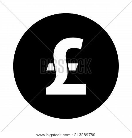 Pound sterling circle icon. Black round minimalist icon isolated on white background. Pound sterling simple silhouette. Web site page and mobile app design vector element.