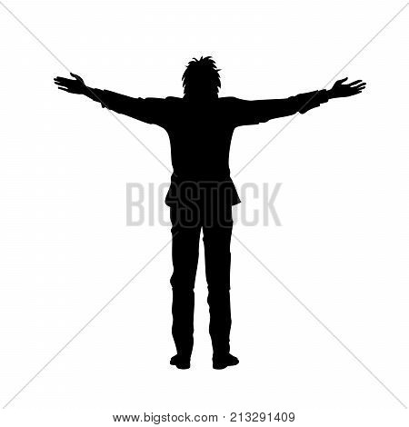 Isolated black silhouette of man with raised open arms outstretched on white background. Front or back view. Contour outline style