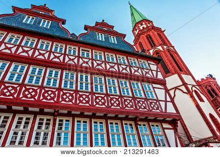 The old historic half-timbered houses in the midst of the banking city Frankfurt am Main, Germany