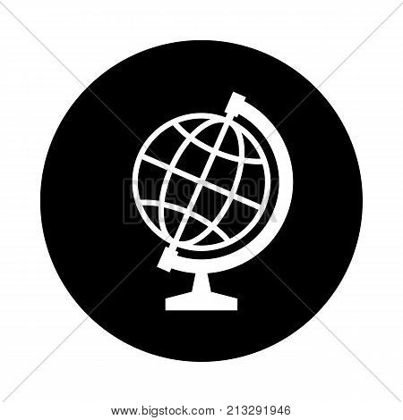 Globe circle icon. Black round minimalist icon isolated on white background. Globe simple silhouette. Web site page and mobile app design vector element.