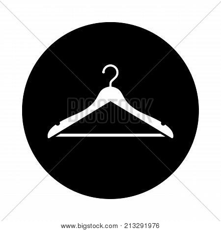 Hanger circle icon. Black round minimalist icon isolated on white background. Hanger simple silhouette. Web site page and mobile app design vector element.