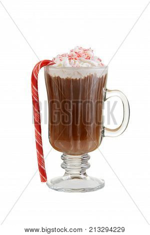 isolated candy cane hot chocolate on white