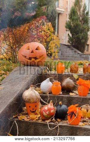Pumpkins And Other Decor Items For Halloween