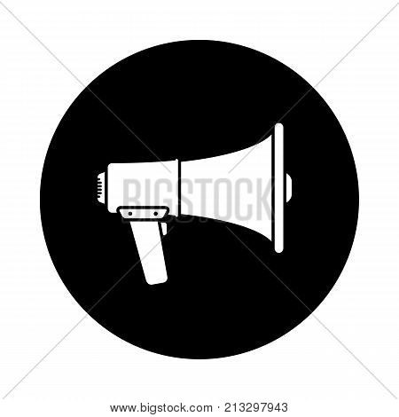 Megaphone circle icon. Black round minimalist icon isolated on white background. Megaphone simple silhouette. Web site page and mobile app design vector element.