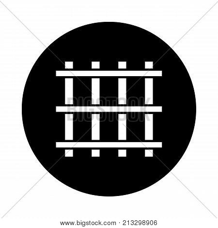 Prison bars circle icon. Black round minimalist icon isolated on white background. Prison grid simple silhouette. Web site page and mobile app design vector element.