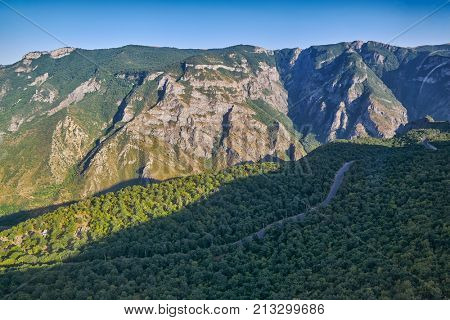 View over Vorotan River Gorge from Tatev Cable Car ropeway in Armenia, longest aerial tramway in the world