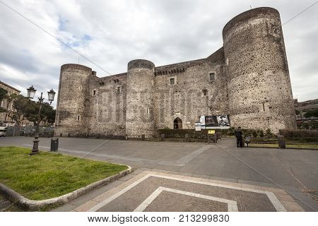 CATANIA, ITALY. April 03, 2015: Castello Ursino is a castle in Catania, Sicily, southern Italy. Wide view. Exhibition of paintings by Pablo Picasso.