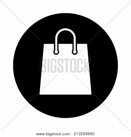 Shopping bag circle icon. Black round minimalist icon isolated on white background. Paper bag simple silhouette. Web site page and mobile app design vector element.