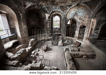 CATANIA, ITALY. April 3, 2015: Ancient Roman baths. Terme della Rotonda are spa facilities from the Roman period, dated to the I-II century AD and located in the historic center of Catania, Italy.