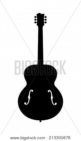 No Name Jazz Guitar Silhouette. Vector Illustration Of Hand Drawn No Brand Imaginary Acoustic Jazz Guitar Silhouette. Release Not needed no copyright infringement.