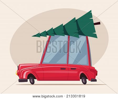 Man drives an old car with christmas tree on the roof. Cartoon vector illustration. Merry Christmas and Happy New Year. Winter forest. Retro style. For web and print