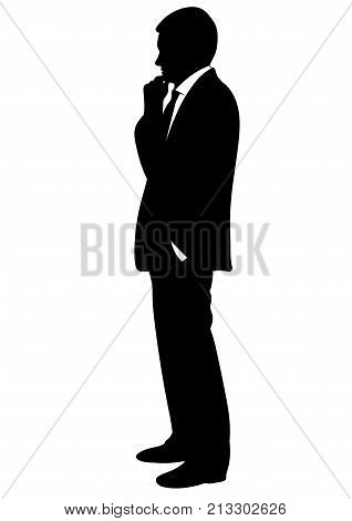 Silhouette of a man in a business suit- vector