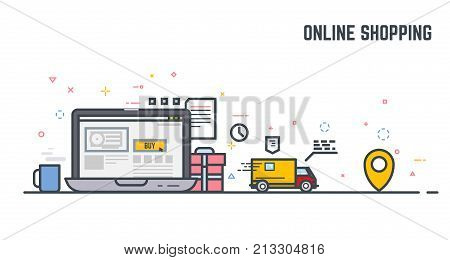 Online shop on laptop monitor. Buying things in online store with gift and present and fast delivery. E-commerce illustration. Linear modern trendy vector banner.