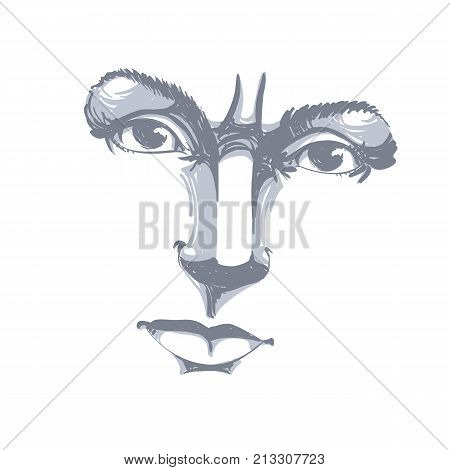 Monochrome hand-drawn portrait of white-skin doubtful woman face features and emotions theme illustration. Angry lady with wrinkles on her forehead posing on white background.