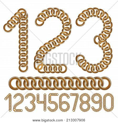 Trendy Numbers Collection, Vector Numeration. Made With Iron Chain, Linked Connection.