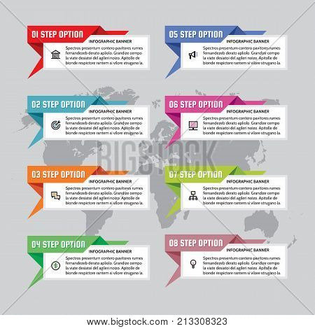 Infographic business concept - colored horizontal vector banners in origami style. Infograph creative layout with text blocks and world map on background. Graphic design elements.
