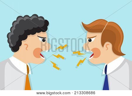two businessmen in a tie in a profile shout and swear at each other