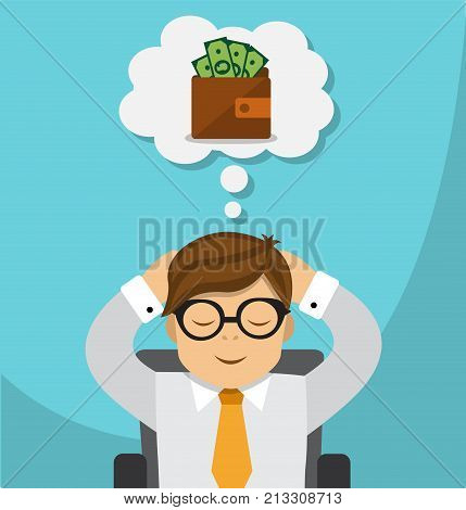 businessman sitting on an office chair and dreaming of becoming rich