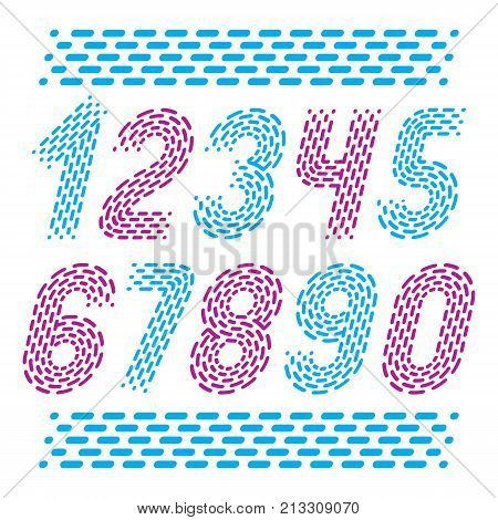Vector Numbers, Modern Numerals Set. Rounded Bold Italic Retro Numeration From 0 To 9 Can Be Used Fo